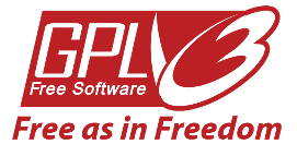 GPL3 logo - free software, free as in freedom