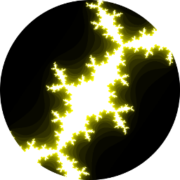 An image of a julia fractal, glowing yellow on black background